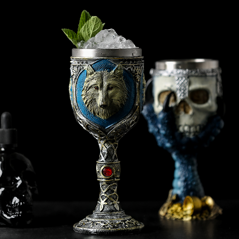 Image 2 - Horrible Resin Stainless Steel Skull Goblet Retro Claw Wine Glass Gothic Cocktail Glasses Wolf Whiskey Cup Party Bar Drinkware-in Other Glass from Home & Garden