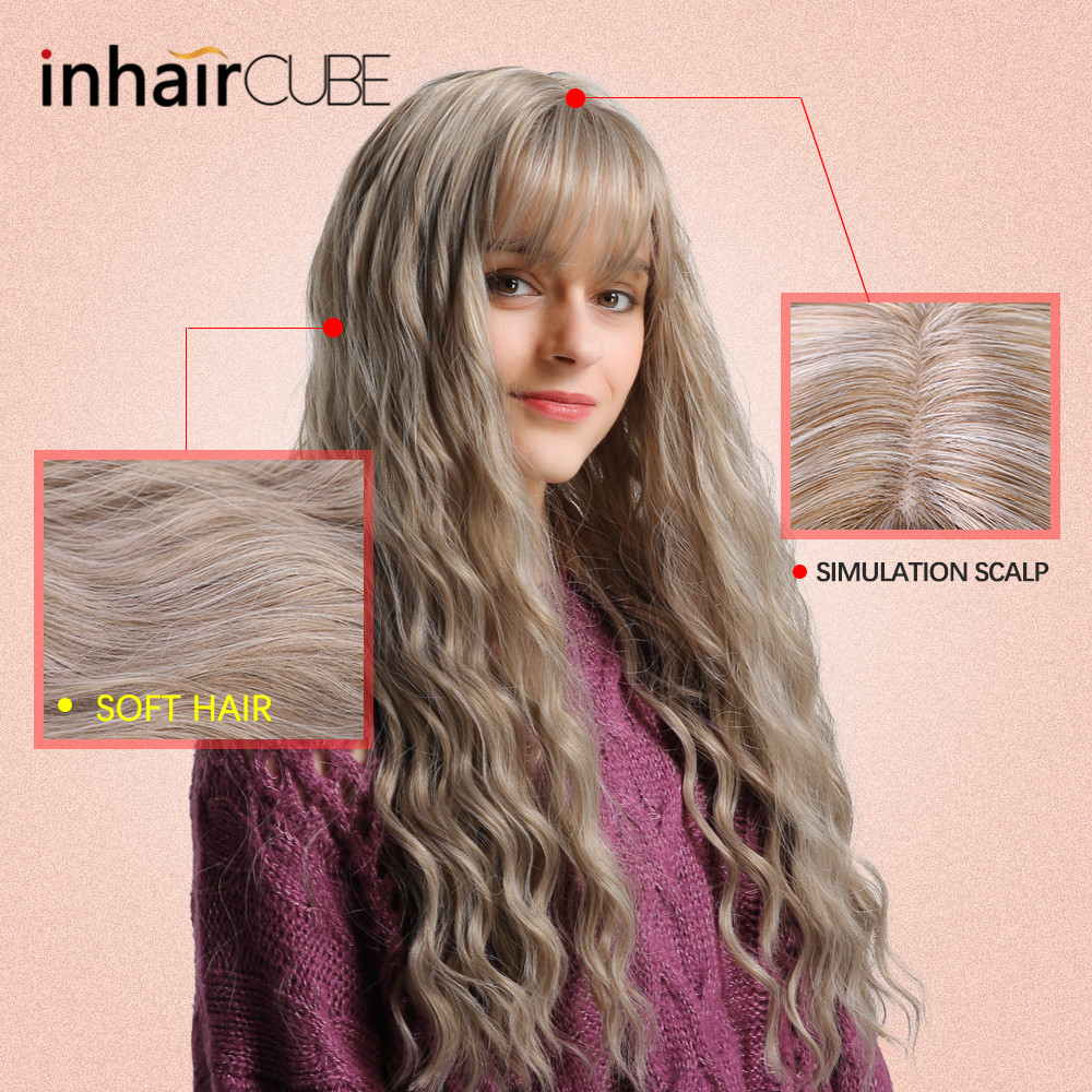 "Image 5 - Inhair Cube 26"" Women's Wig Light Blonde Synthetic Hair Long Curly Wig Heat Resistant Weave  Wigs For Women Use and Cosplay-in Synthetic None-Lace  Wigs from Hair Extensions & Wigs"