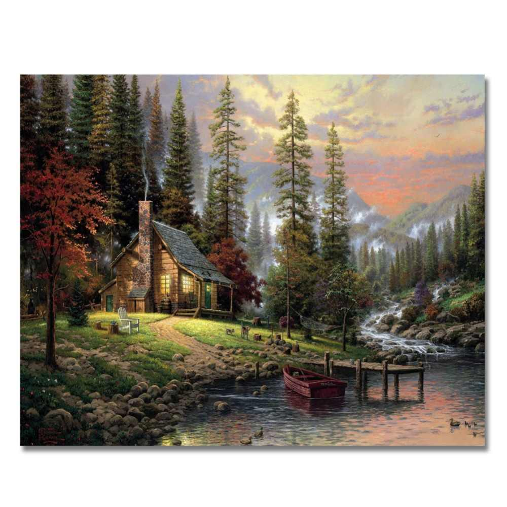 WEEN Green Cabin-DIY Paint By Numbers Kit,Acrylic Paint,Modern Wall picture, Hand-Painted Oil Canvas Painting 40x50CM