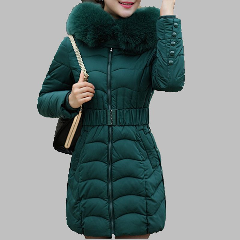 ФОТО 2015 New Winter Jacket Woman's Slim Cotton Padded Jacket Mujer Female Fur Collar Thickening Warm Jacket Coat  Plus Size ZL0793