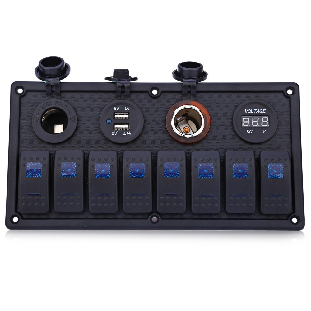 ФОТО Rocker Switch Panel Power Socket S8230 Waterproof Plastic Cigarette Lighter USB Voltmeter with Breaker Blue Dual lamp