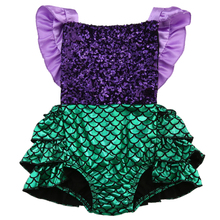 Hot Baby Girl Sequins Mermaid Romper Jumpsuit Sunsuit Outfit