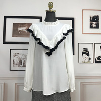 Ruffles Long Sleeve Loose Pullovers Blouse 2018 New Brand Runway Women Spring Summer Shirts High Quality
