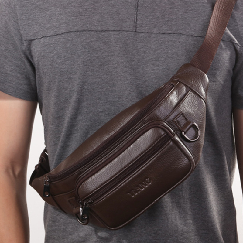 Men Genuine Leather Waist Chest Bags First Layer Cowhide Pouch Single Shoulder Cross Body Bags High Quality Hip Fanny Belt Pack