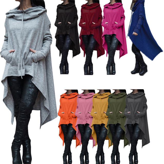 Autumn Winter Women Jacket Coat XXXXL 5XL Plus Size Fashion Long Pullover Outerwear Irregular Hoody Collar Clothing Basic Jacket