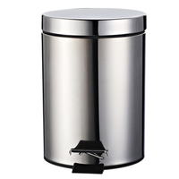 Stainless Steel Covered Round Step Trash Can Foot Pedal Dustbin Garbage Bin with Lid Silver