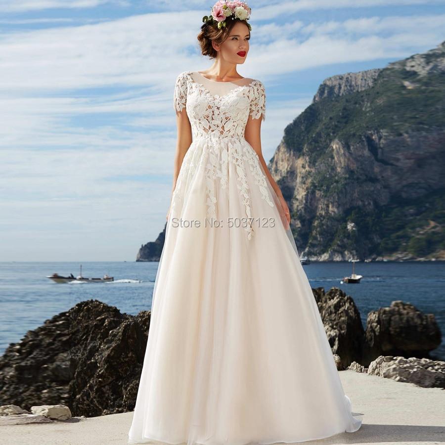 A Line Short Sleeves Wedding Dresses Button Illusion A Line O Neck Sweep Train Lace Appliques Vestido De Noiva Bridal Gown