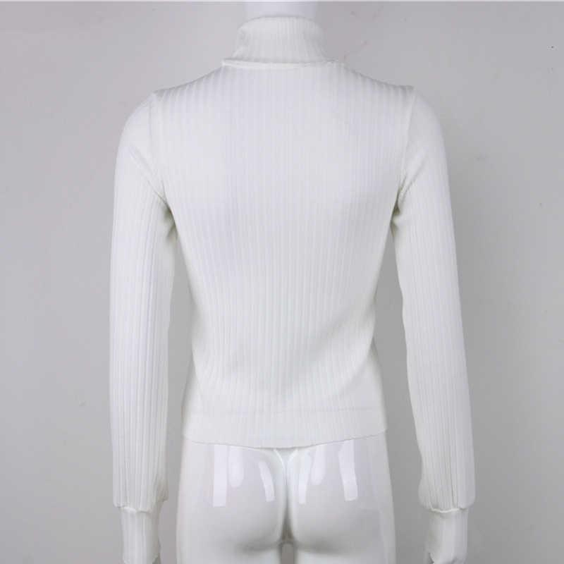 נשים מקרית סוודרים כותנה חורף ארוך שרוול יבול למעלה 2018 סתיו סרוג סוודר גבירותיי גבוהה צוואר סוודרים נקבה Mujer