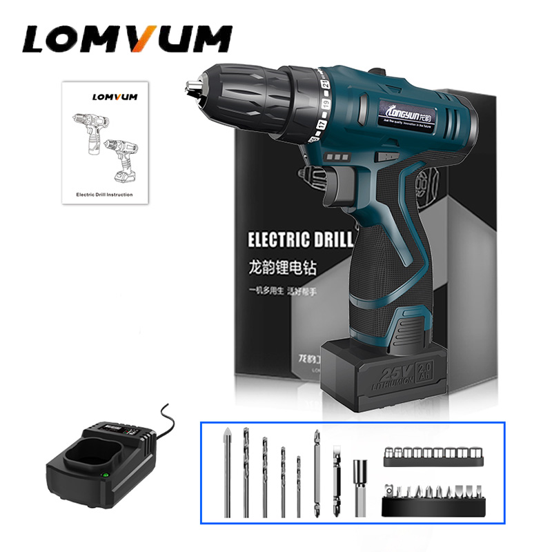 LOMVUM 25V Double Speed Cordless Screwdriver Recharge Battery Electric Mini Drill LED Light Power indicator Non