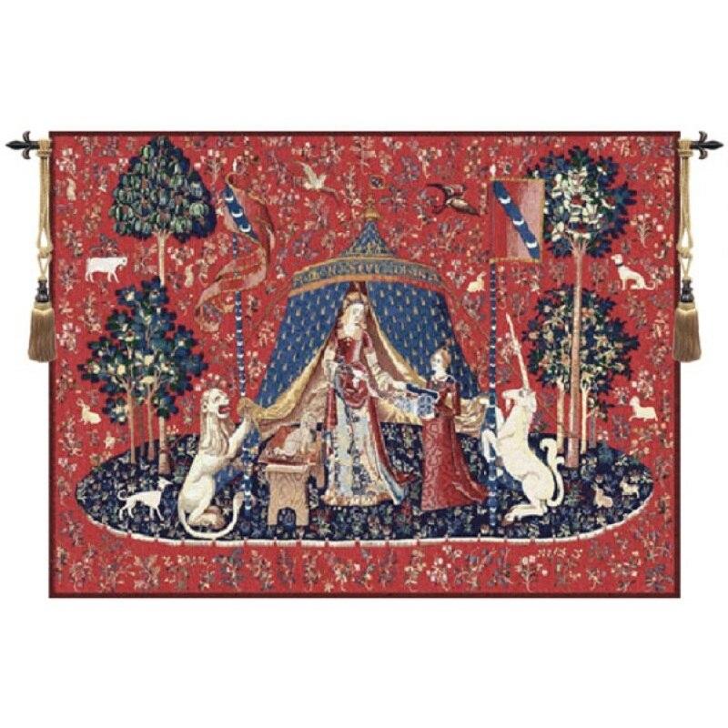 středověký Unicorn - ušlechtilá žena bavlna tkaná 83 * 68cm nástěnná závěsná belgie tapiserie pro domácí výzdobu Obývací pokoj Americká tapiserie
