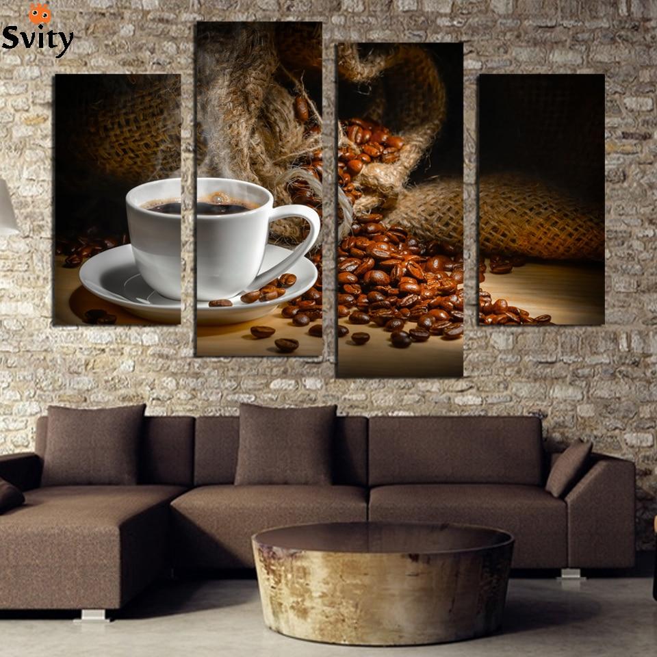 4 Pcs Coffee Beans Print Canvas Painting Kitchen