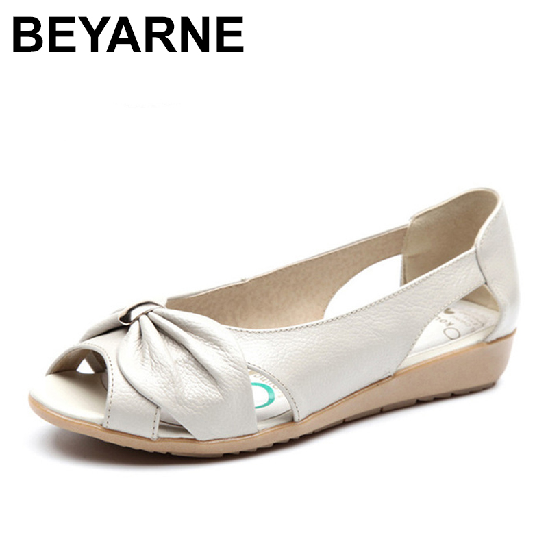 BEYARNE Big Size Genuine Leather Sandals Women Flats Solid Casual Women Shoes Flats Summer Sandals Women vintage Sandalias Mujer шины kormoran snowpro b2 215 55 r17 98v xl