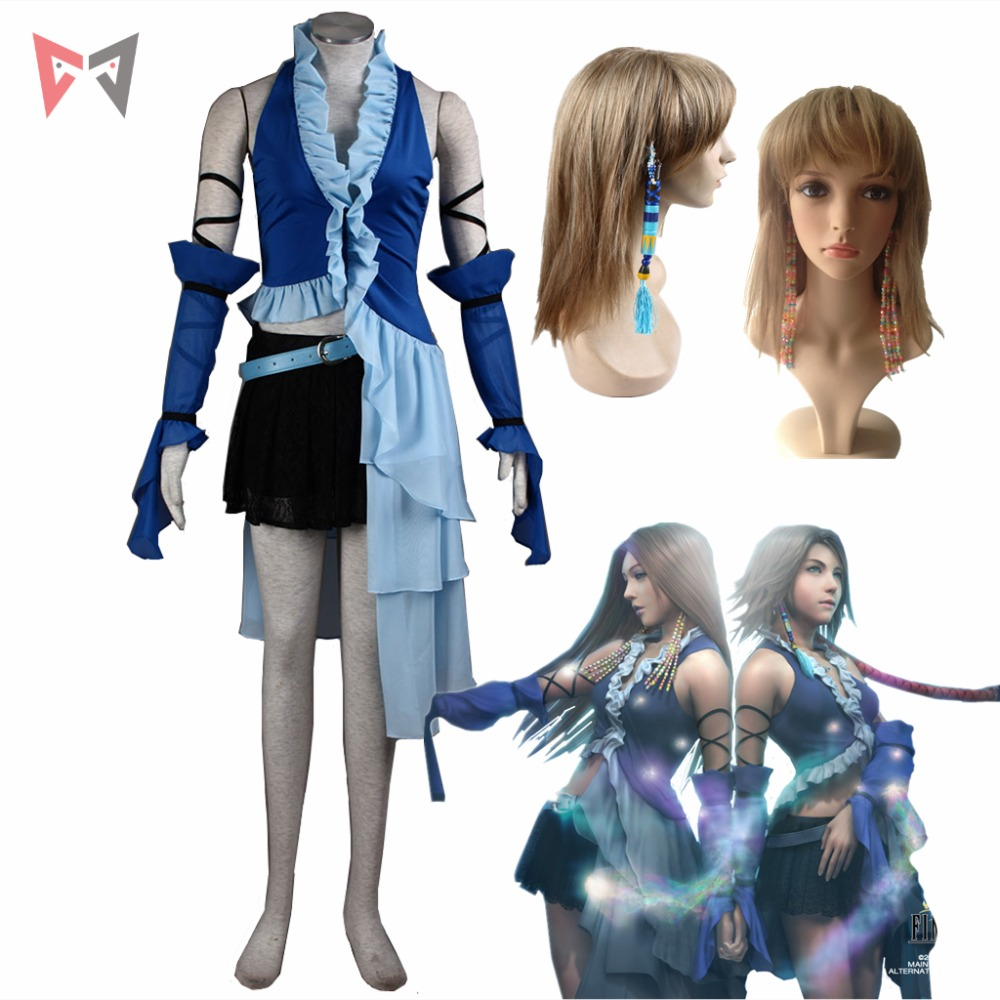 Final Fantasy XII cosplay Yuna Lenne Song cosplay kostym och örhängen set Halloween Blå klänning Custom Made