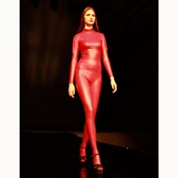 Latex High Elastic Long Sleeve Jumpsuit Women Turtleneck Seamless Body Shaping Onesies Ladies Zip Open Crotch Rompers Pantyhose