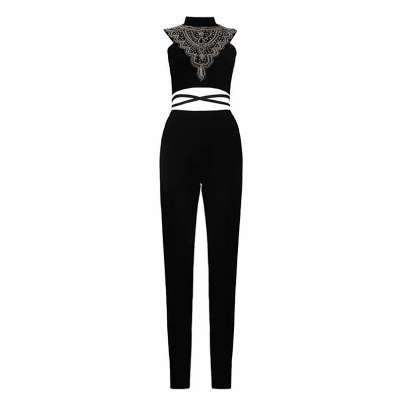 À Solide Lacets 2019 Moulante Sexy Diamand Femmes De En Combinaison Zipper Manches Noir Bandage Perles Sans Gros Mode Celebrity Bwvx8AqB