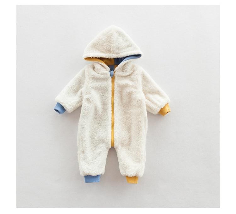 2efb968dd Winter Warm Fleece Baby Rompers 3D bear Hooded Newborn Clothes Baby ...