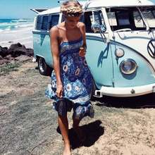 Boho Inspired midi slip summer dress blue floral print sleeveless strapy gypsy casual women beach dress holiday vestidos 2018(China)