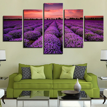 Canvas HD Prints Poster Home Decor Frame 5 Pieces Purple Lavender Fields Sunset Landscape Painting Living Room Wall Art Pictures