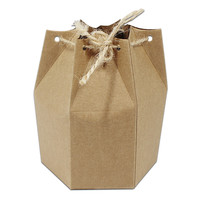 Favor Do Aniversário Boutique de varejo Embalagem de Presente Pequena Caixa de Doces da Festa de Casamento Craft Chocolate Embalagem Hexágono Caixa de Papel Kraft
