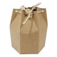 Perakende Doğum Günü Butik Favor Küçük Hediye Ambalaj Kutusu Düğün Şeker Çikolata Zanaat Ambalaj Altıgen Kraft Kağıt Kutusu