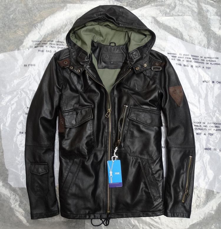 2016 primavera autunno autunno classico della moda con un cappuccio militare pilota cappotto per gli uomini genuino giacca di pelle di pecora nero 3xl 4xl