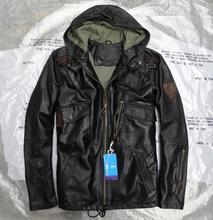 2016 демисезонный модные классические с капюшоном Военная Униформа пилот пальто для мужчин из натуральной овечьей кожи куртка черный 3xl 4xl