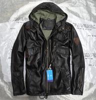 2019 весна осень мода классический с капюшоном Военный пилот пальто для мужчин из натуральной овчины кожаная куртка черный 3xl 4xl