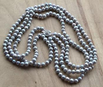 Gray Pearl Necklace,3 Strands 5-6mm Real Freshwater Pearl Necklace,Perfect Pearl Jewellery,Handmade Bridesmaid Jewelry