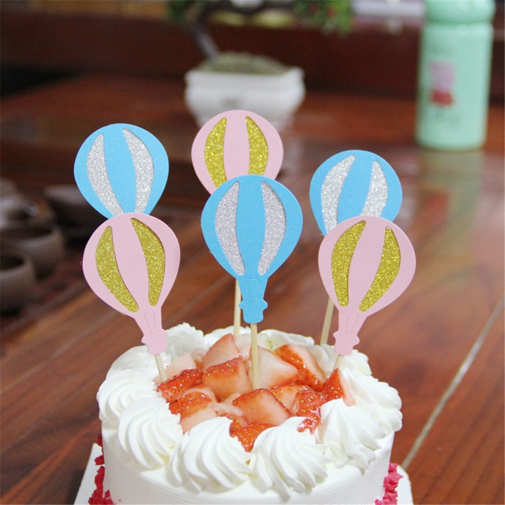 CRLEY Wholesale 12pcs/lot Cupcake Topper Hot Air Balloon Pink Blue Tea Party Wedding Birthday Cake Decor Paper Cards