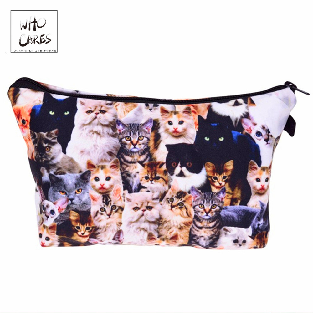 Who Cares Fashion Cosmetic Organizer Bag Cats 3d Printing  Makeup Bags Ladies Pouch Women Cosmetic Bag