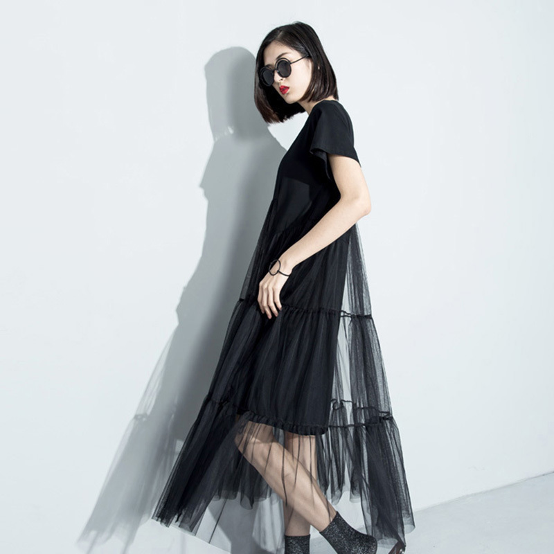 [GUTU] 2018 summer new fashion stitching net yarn perspective solid color O- short sleeve loose dress women wholesale 3361 4