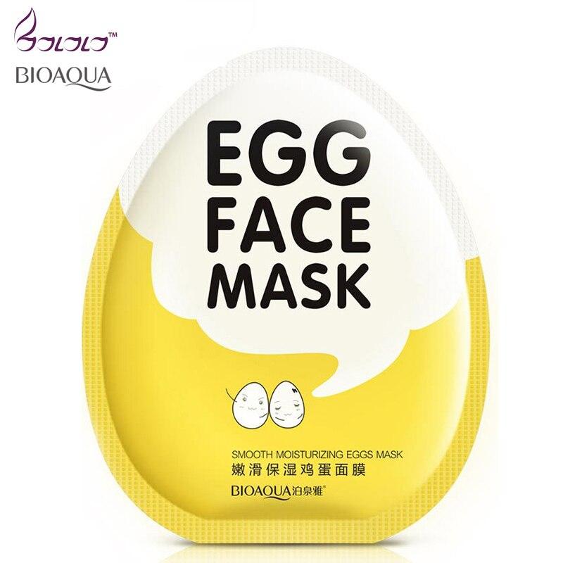 Bioaqua Brand Eggs Face Mask Moist Hydrating Shrink Pore Brightens Whitening Facial Masks Anti Aging Sheet Cosmetics Skin Care