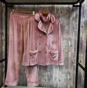 JRMISSLI 2019 New Autumn Winter Women's Pure Color Velvet Pajamas Long Sleeve 3 Piece Pants Set Leisure Sleepwear Ladies - DISCOUNT ITEM  0% OFF All Category