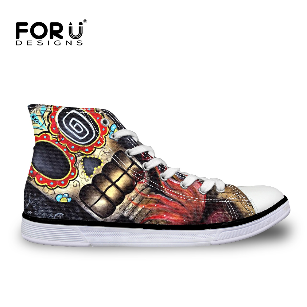 Vintage women's canvas shoes skull head print ankle shoes casual outdoor sport sneakers punk rock shoes ladies mujer zapatillas skull cat print crescent hem top