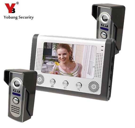 Yobang Security 2016 Rushed Video For Portero Color 7 Inch Lcd Home Security Video Door Phone Intercom Kit 2 Cameras 1 Monitor image