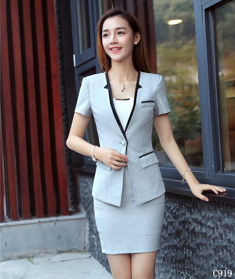 Aggressiv Neue Stil 2018 Damen Sky Blue Blazer Frauen Anzüge Mit Rock Und Jacke Sets Sommer Büro Uniform Designs