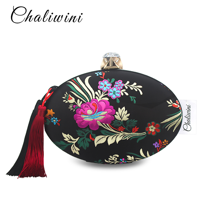 Vintage Chinese Style Evening Clutch Bag Embroidery Flower Women Satin Tassel Clutch Purse Wedding Party Retro Shoulder Handbag
