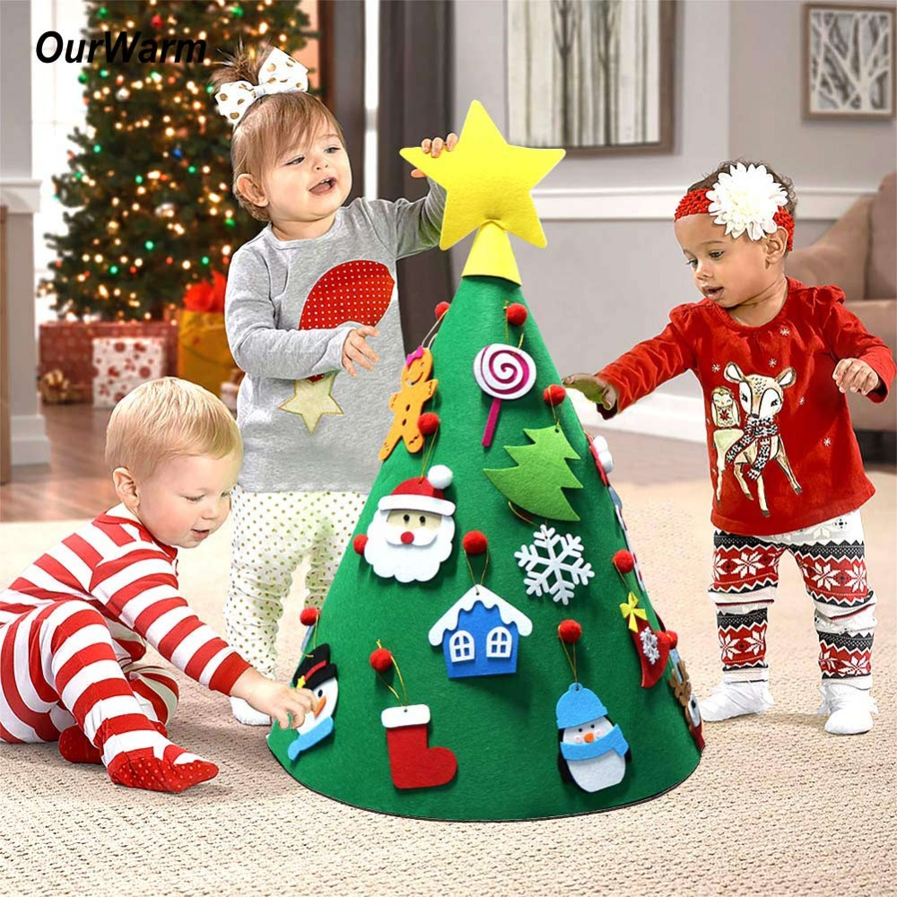 OurWarm New Year 3D DIY Felt Christmas Tree For Toddlers with Ornaments Merry Christmas Decoration 2018 Playtime Children's Tree