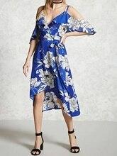 Blue V Front Cold Shoulder Ruffle Floral Print Cami Hilo Dress