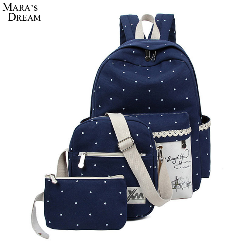Mara s Dream Canvas Women Backpack rucksack 2017 Lace Printing Lanscape Mutilcolors Laptop Backpacks for Teenage