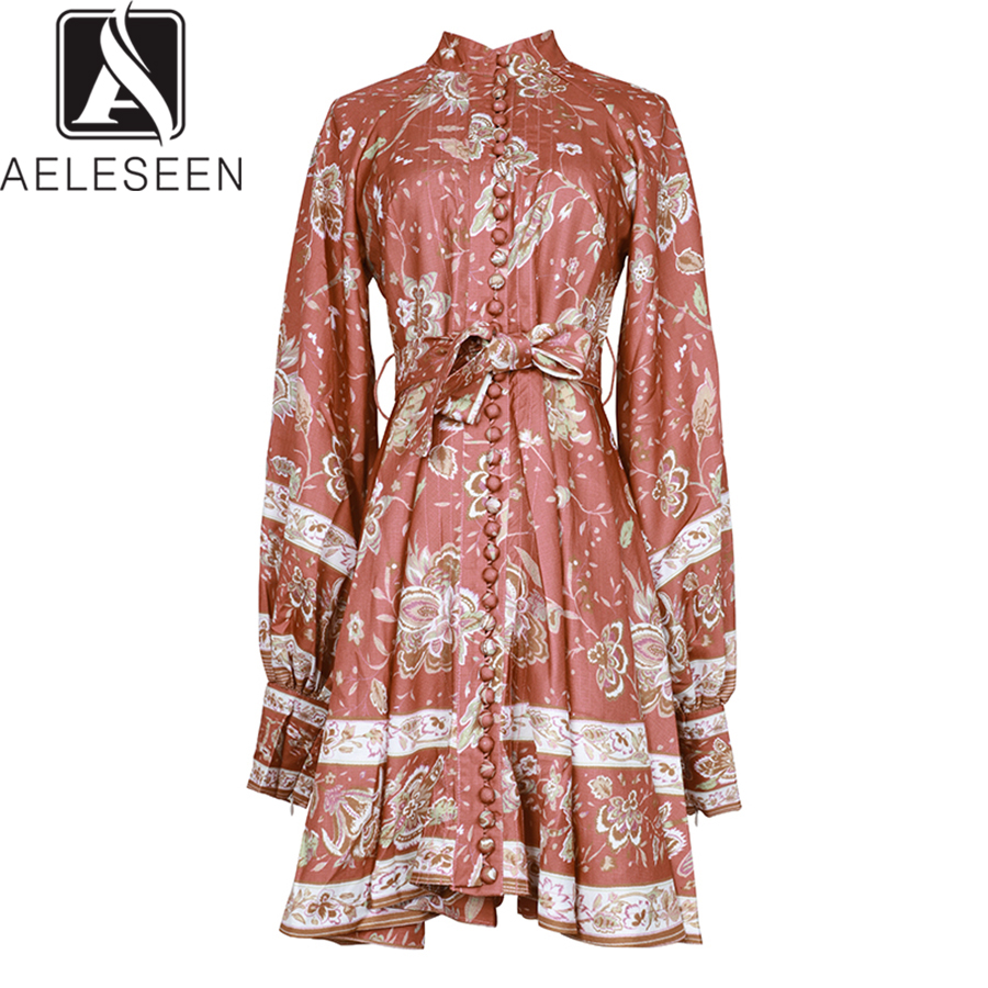 AELESEEN 2019 automne nouvelle mode robes Vintage femmes élégant imprimé Floral lanterne manches simple boutonnage Mini robe avec ceinture