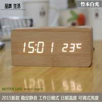 LED Luminous Electronic Alarm Clock Creative Mute Modern Stylish Living Room Wood Bedside Clock Watch