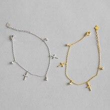 где купить Real 925 Sterling Silver Bracelets for Women 2019 Gold Silver Chain Cross Pendant Bracelet Tassel Bracelet Bangle Silver Jewelry дешево