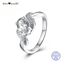 Shipei 100% 925 Sterling Silver Fine Jewelry White Gold Oval White Sapphire Engagement Ring for Women Anniversary Gift