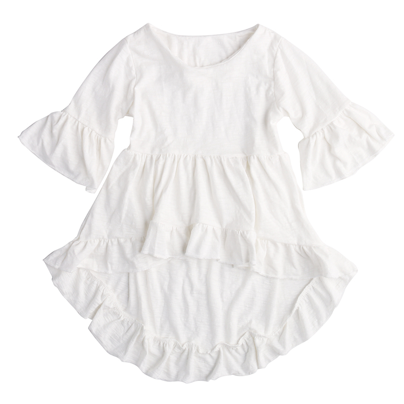 White Ruffled Cotton Outfits Top Dress Blouse 1pcs Kids Children Baby Girls Clothing Pretty Elegant Princess Clothes Girls 1-6Y