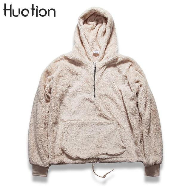 Huation Fleece Half Zip Sherpa Hoodies Men 2017 Winter Long ...
