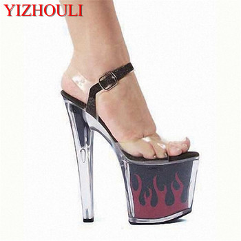 Hot 7 inch sexy clear Gorgeous High Heels flame platform crystal shoes 17cm women Exotic Dancer high shoes