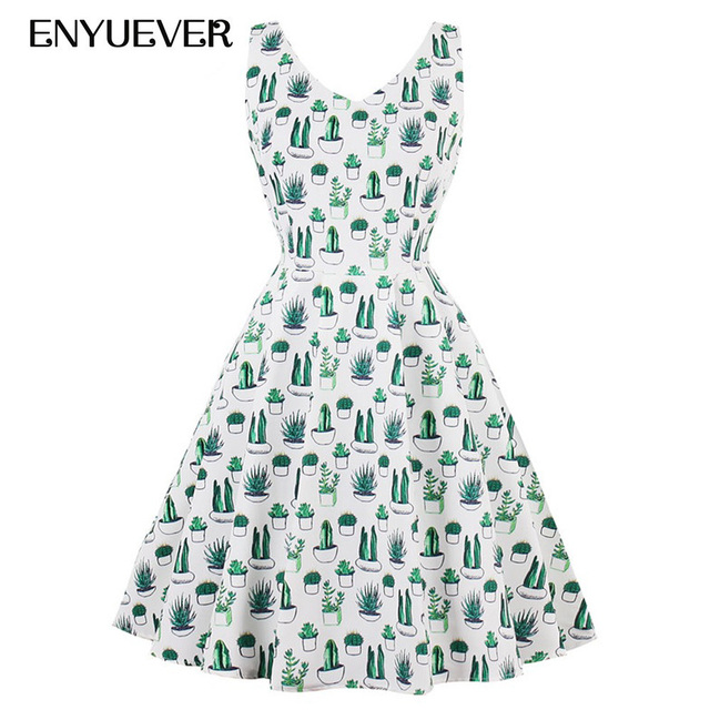89042f6204 Enyuever Cactus Print Vintage Dresses 50s Robe Pin Up Cute Vestidos  Rockabilly Dress Plus Size Summer Clothing Casual Sundress