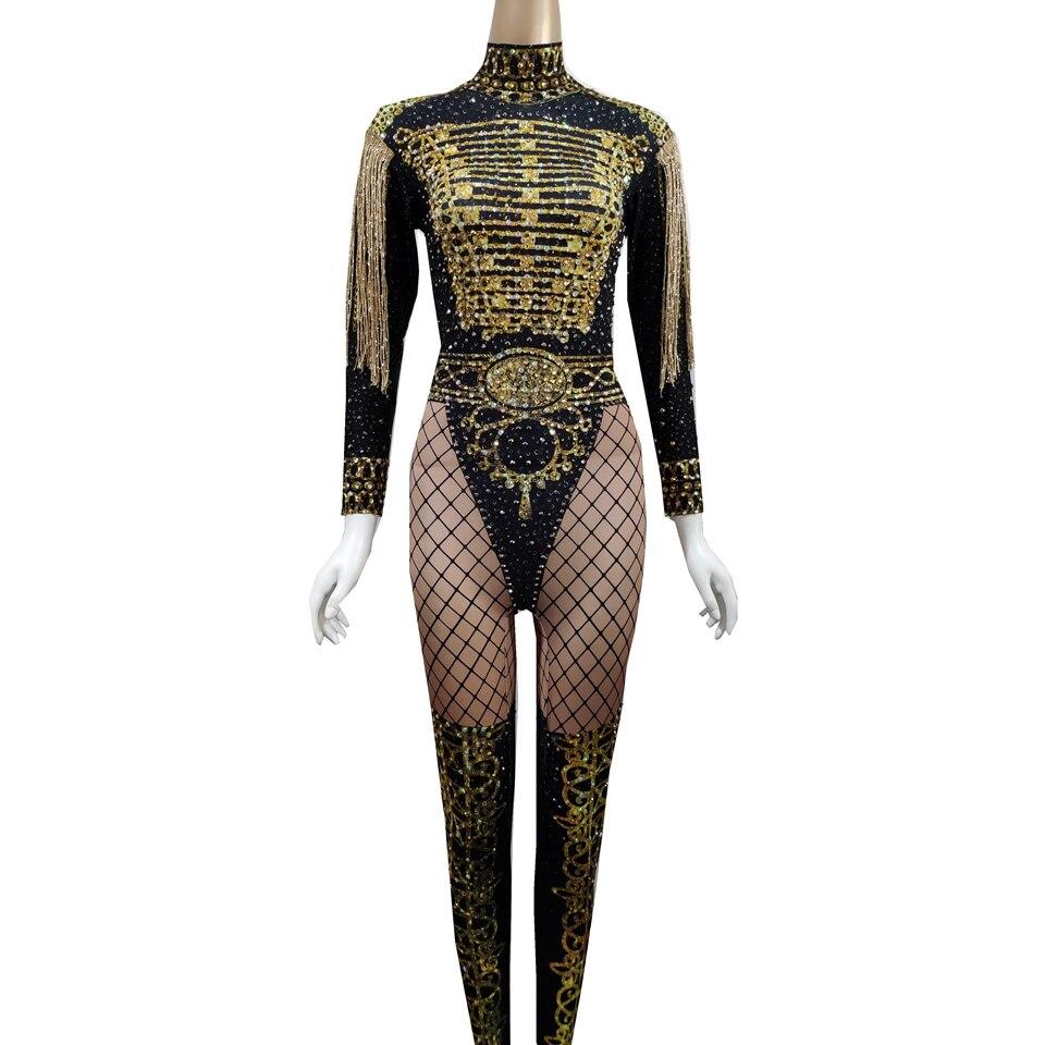 Golden Fringes Epaulet Rhinestones Jumpsuit Women Jazz Dance Nude Stretch Bodysuit Outfits Evening Show Rave Festival