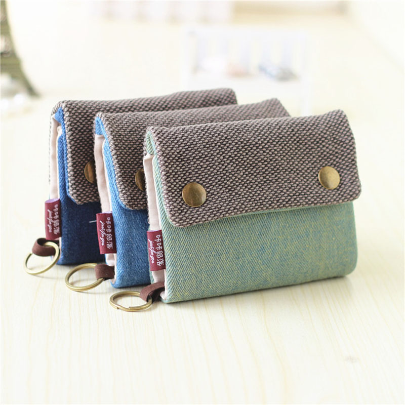 Unisex Men Women's Three Layer Folded Manual Canvas Wallet Bag With Multi Card Holder,Boy Girl's Denim Multifunction Coin Purse